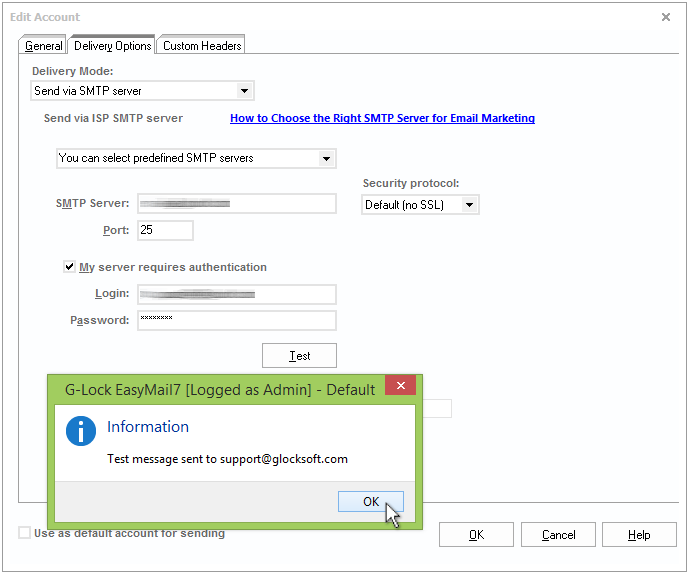 Create email server account in EasyMail7