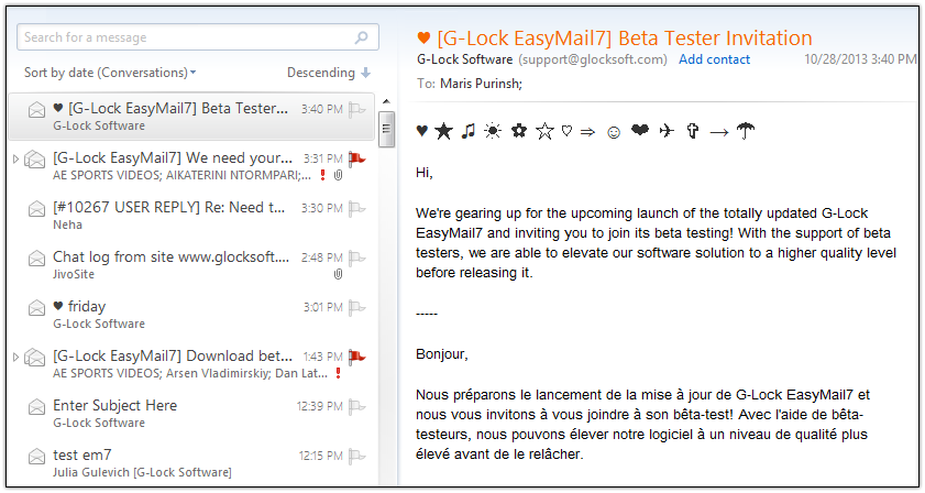 G-Lock EasyMail7 symbols in the Subject line