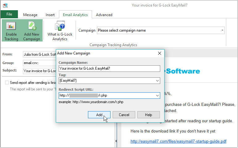 add campaign in G-Lock EasyMail7