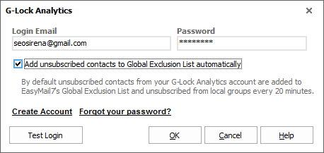 Automatically add unsubscribes from G-Lock Analytics to the global exclusion list