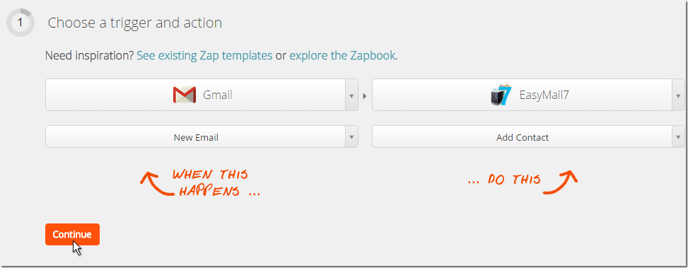 Choose trigger in zapier