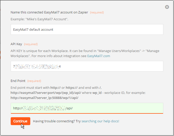 Connect zapier to EasyMail7 account