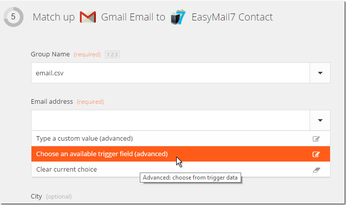 Match fields to EasyMail7
