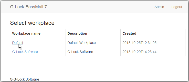 Select workplace in G-Lock EasyMail7 web client