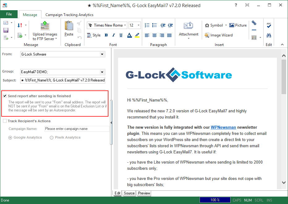 Send PDF report in G-Lock EasyMail7