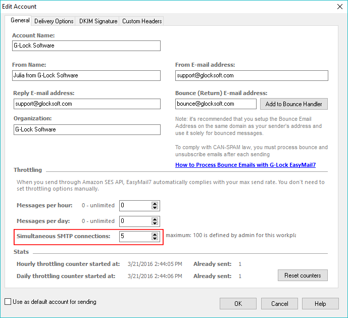 decrease SMTP connections in G-Lock EasyMail7