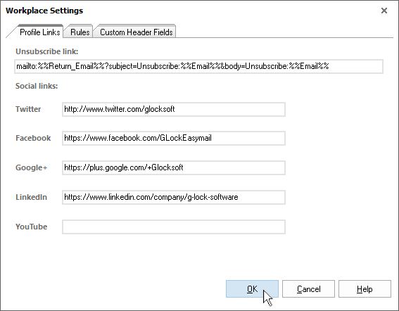 G-Lock EasyMail7 workplace settings